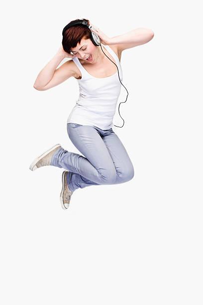 Listening Leap stock photo