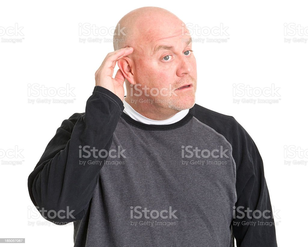 Listening Man With Hand To Ear stock photo