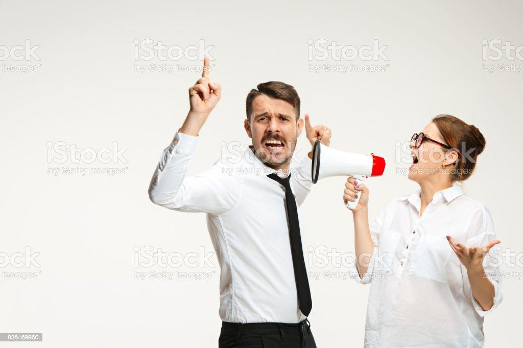 Listening, Megaphone, Shouting stock photo