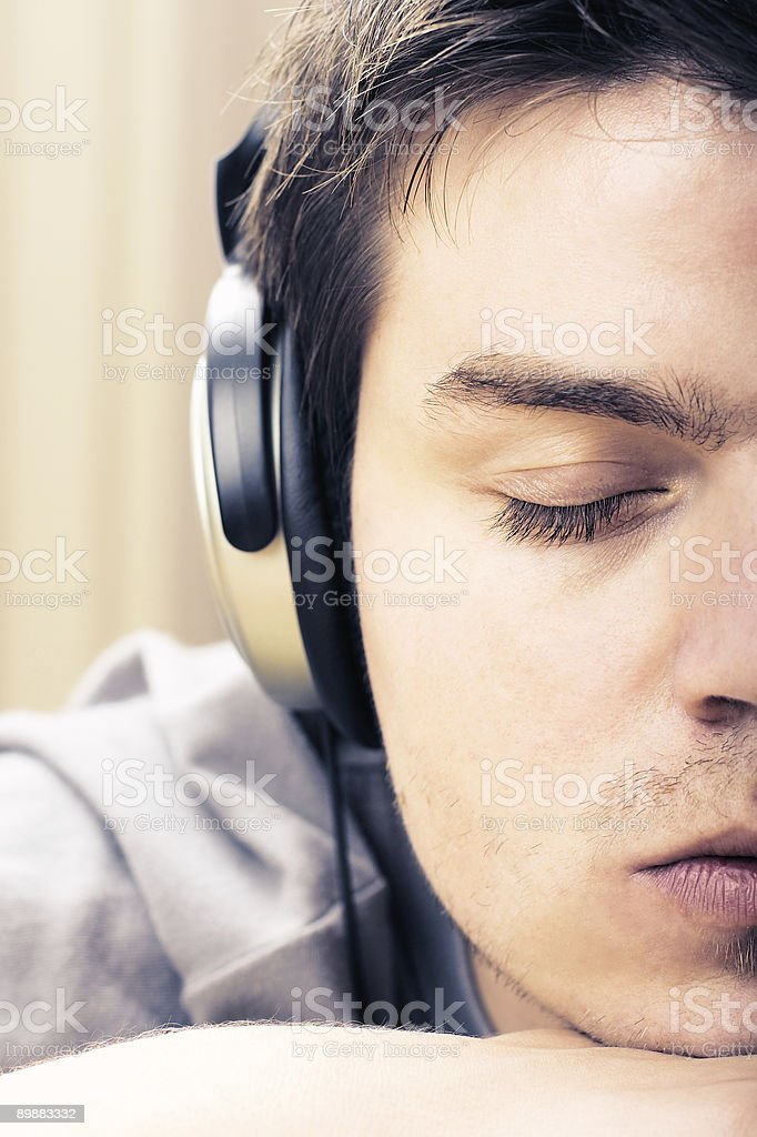 Listening Music royalty free stockfoto