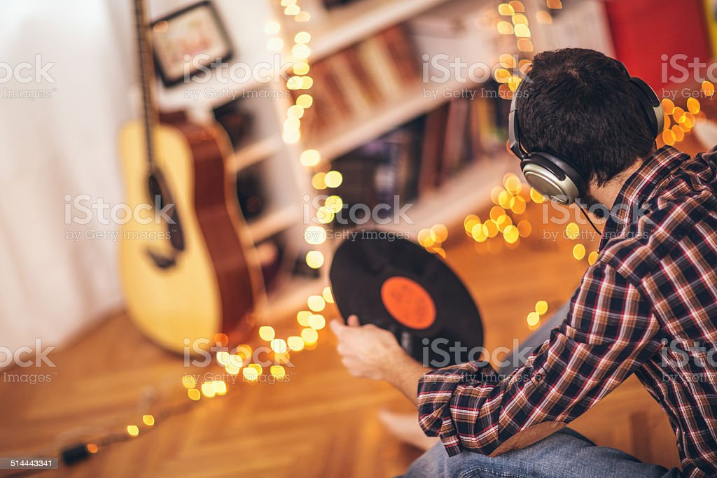 Listening records stock photo