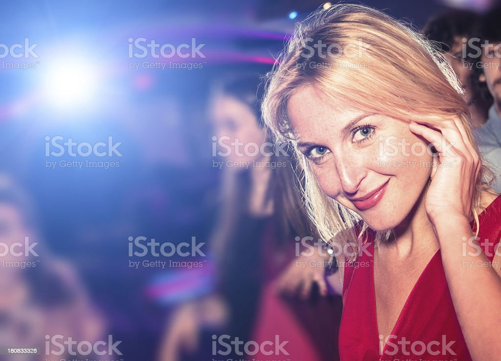 Listening the music at disco royalty-free stock photo