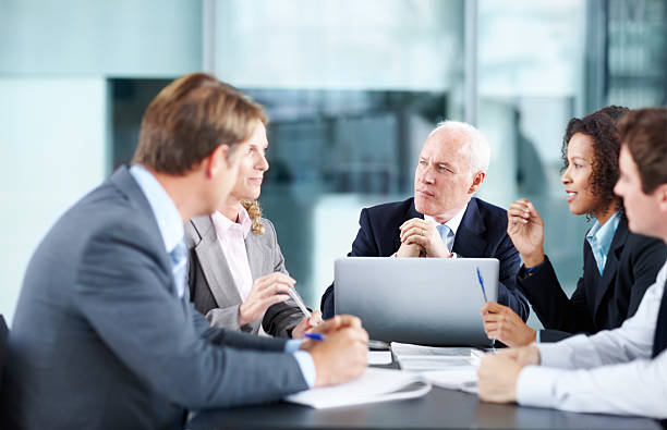 Listening to an interesting proposal stock photo