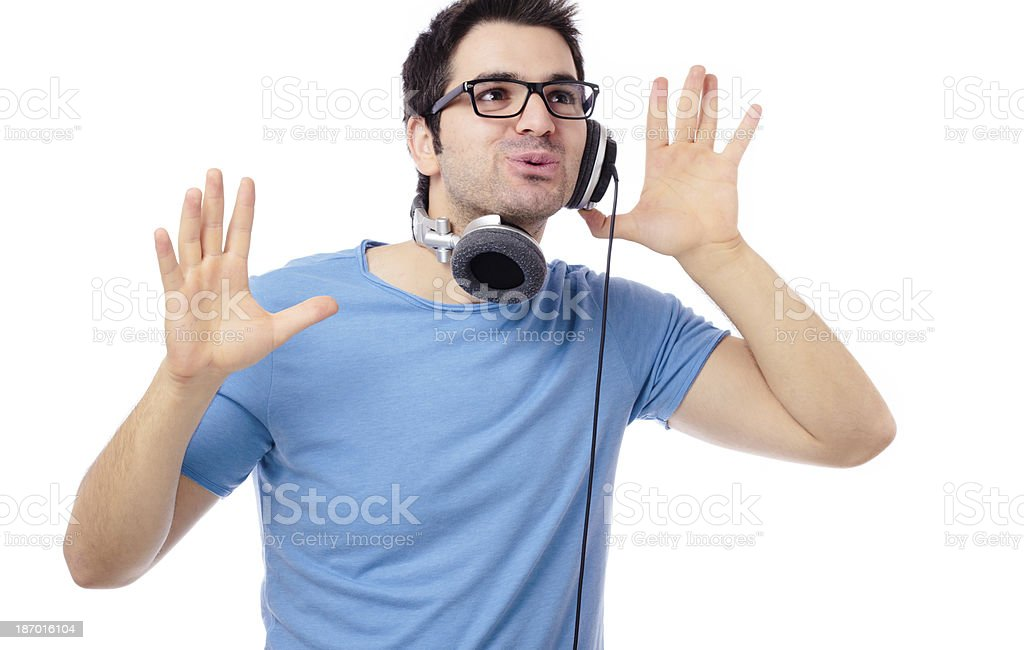Listening to music and dancing royalty-free stock photo