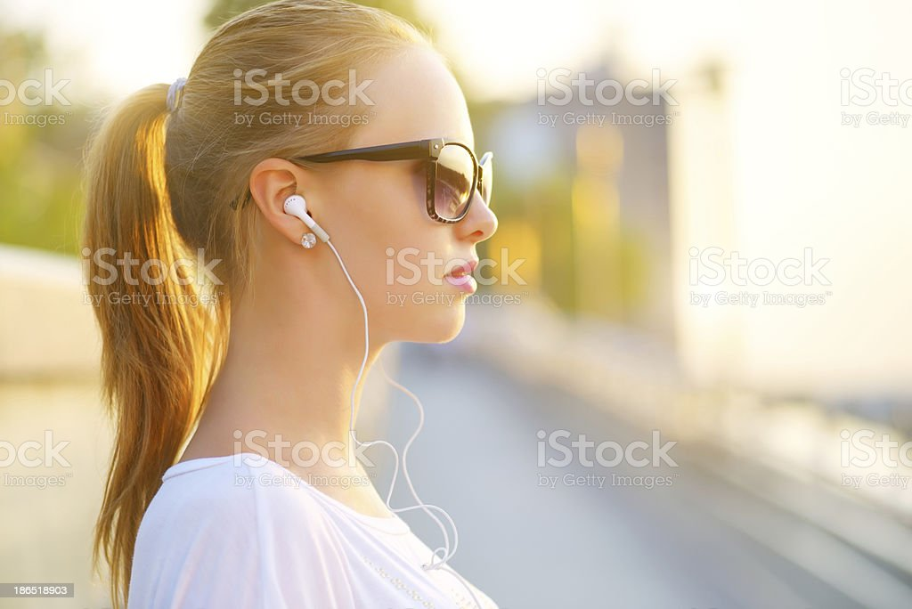 listening to music royalty-free stock photo