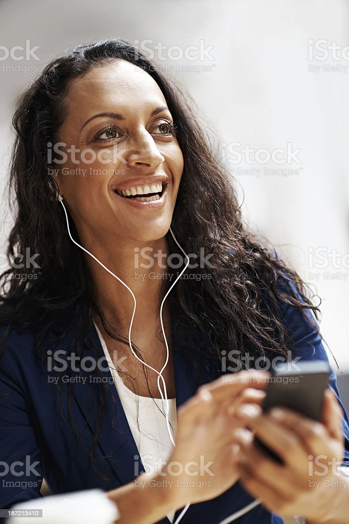 Listening to my favourite tunes royalty-free stock photo