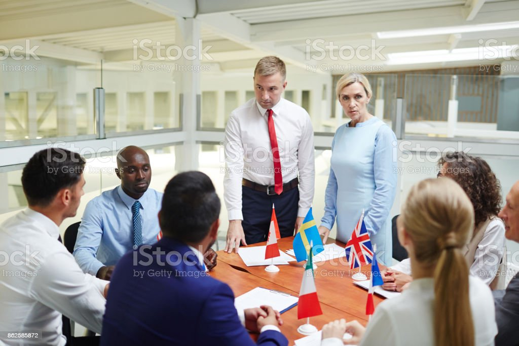 Listening to opinions stock photo