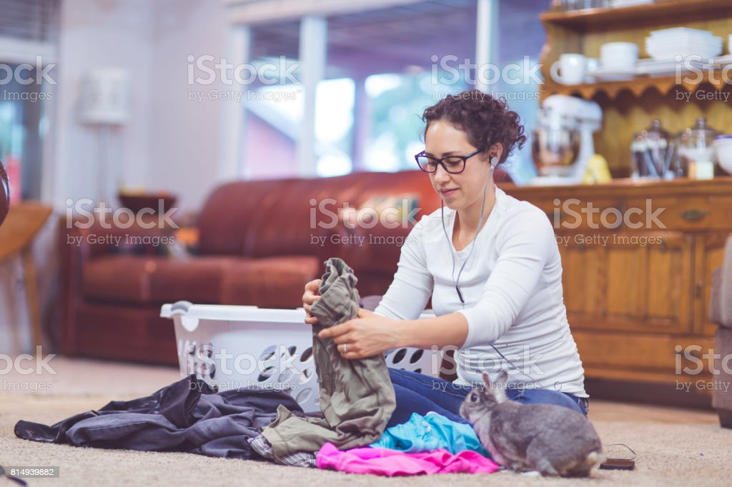 Listening to riveting podcast stock photo