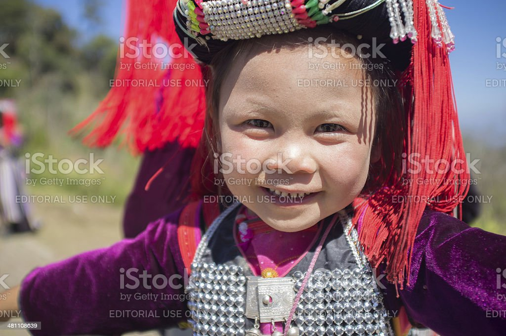 Lisu hill tribe child northern Thailand stock photo