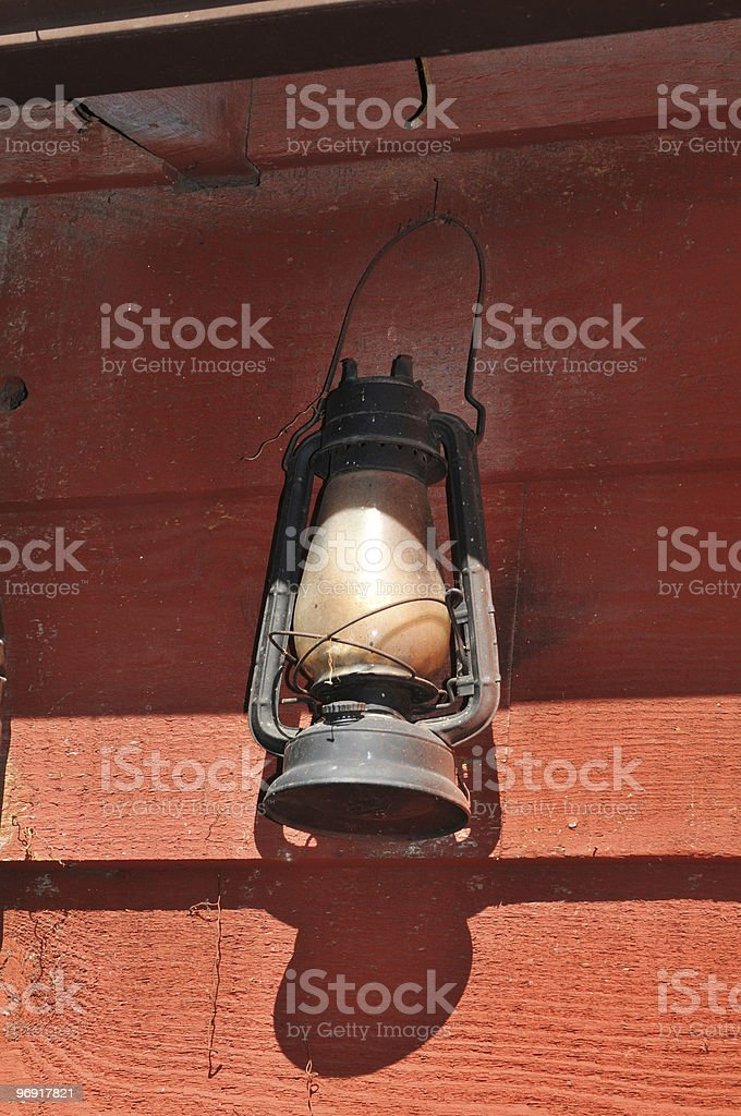 Lit Antique oil lamp royalty-free stock photo