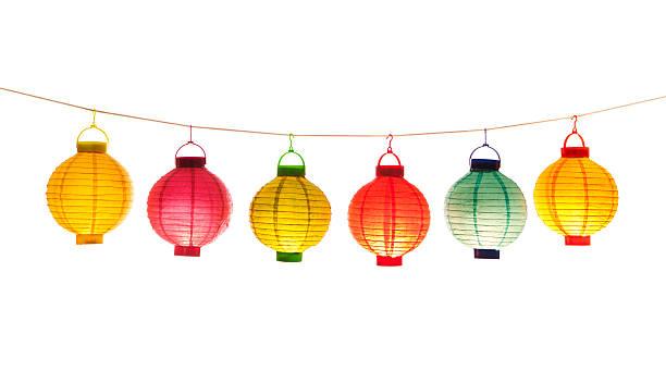lit chinese lanterns on white background - rislampa bildbanksfoton och bilder