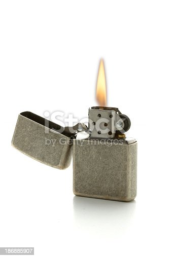 cigarette lighter with flame, isolated on a white background