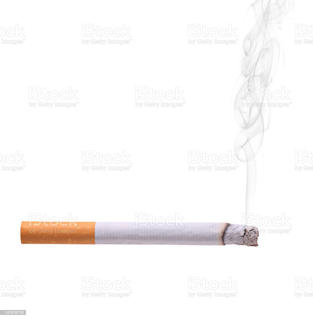 A lit cigarette on a white background  stock photo