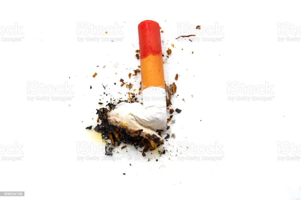 Lit Cigarette with Red Lipstick Stain on the Butt stock photo
