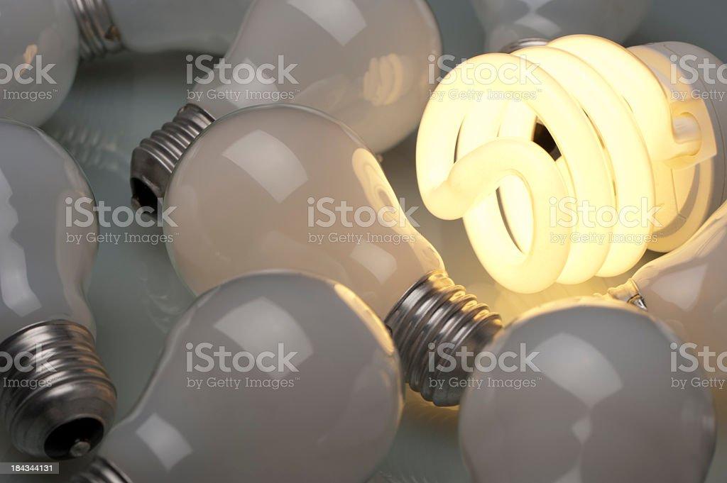 Lit Energy efficient light bulb royalty-free stock photo
