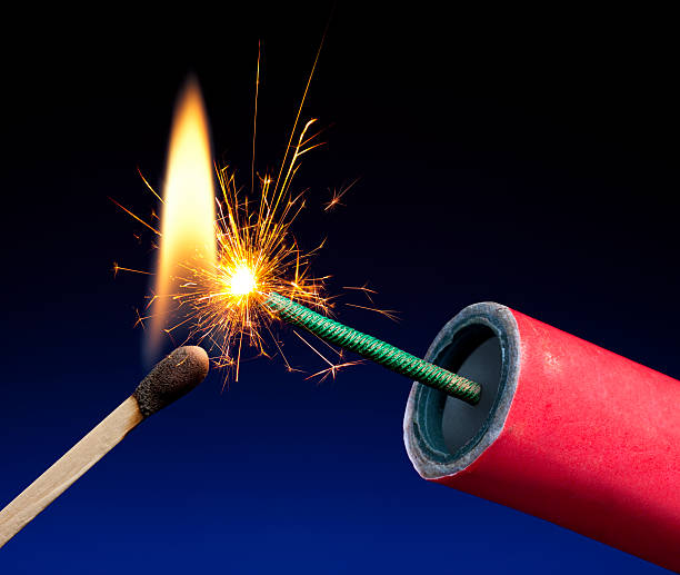 Lit Explosive Fuse Crackling and Sparking stock photo