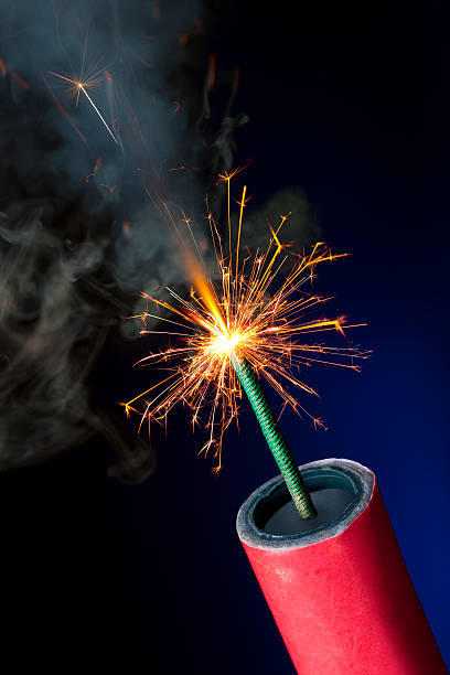Lit Fuse on TNT or Dynamite Ready to Explode stock photo