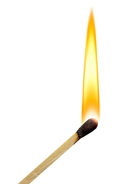 Lit Match With Flame on White Background stock photo