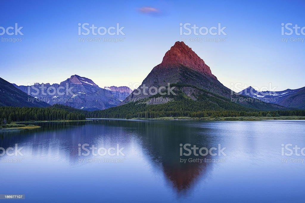 Lit Mountain Top stock photo