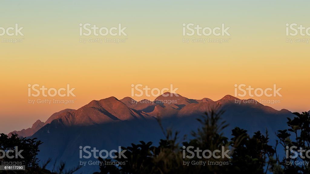 Lit mountains stock photo