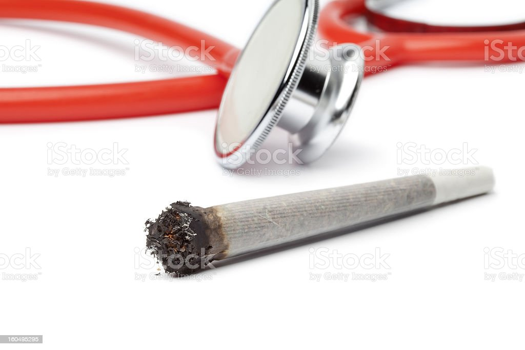 Lit reefer with stethoscope royalty-free stock photo