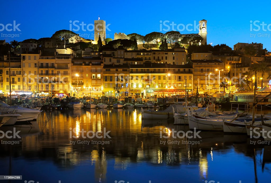 Lit up building on the French Riviera royalty-free stock photo