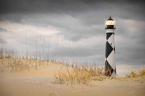 Lit Up Cape Lookout stock photo