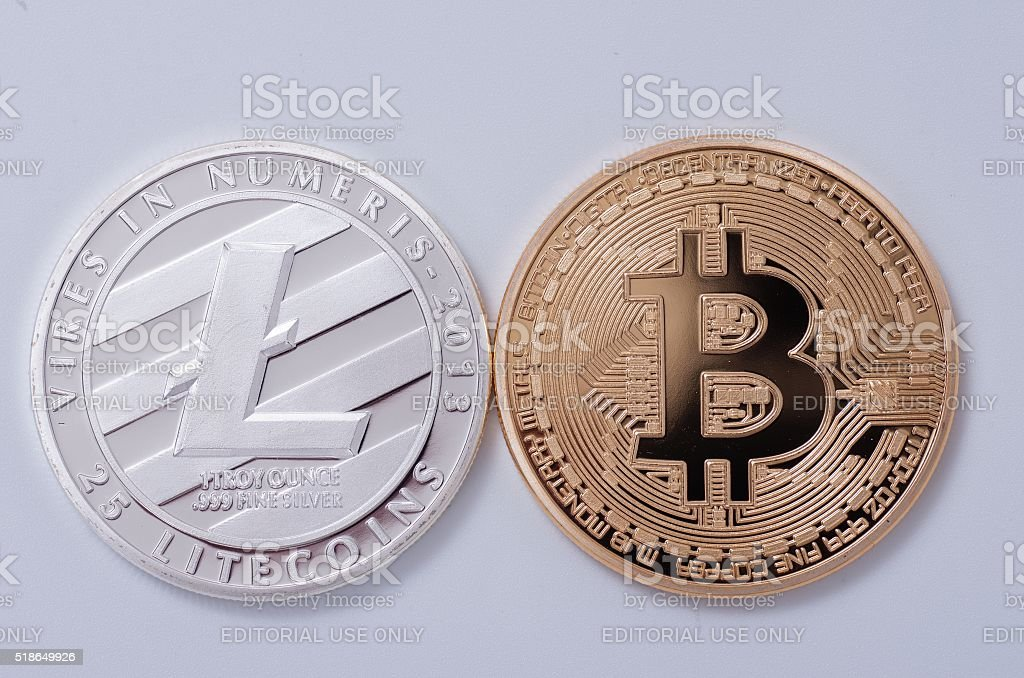 Litecoin & Bitcoin stock photo