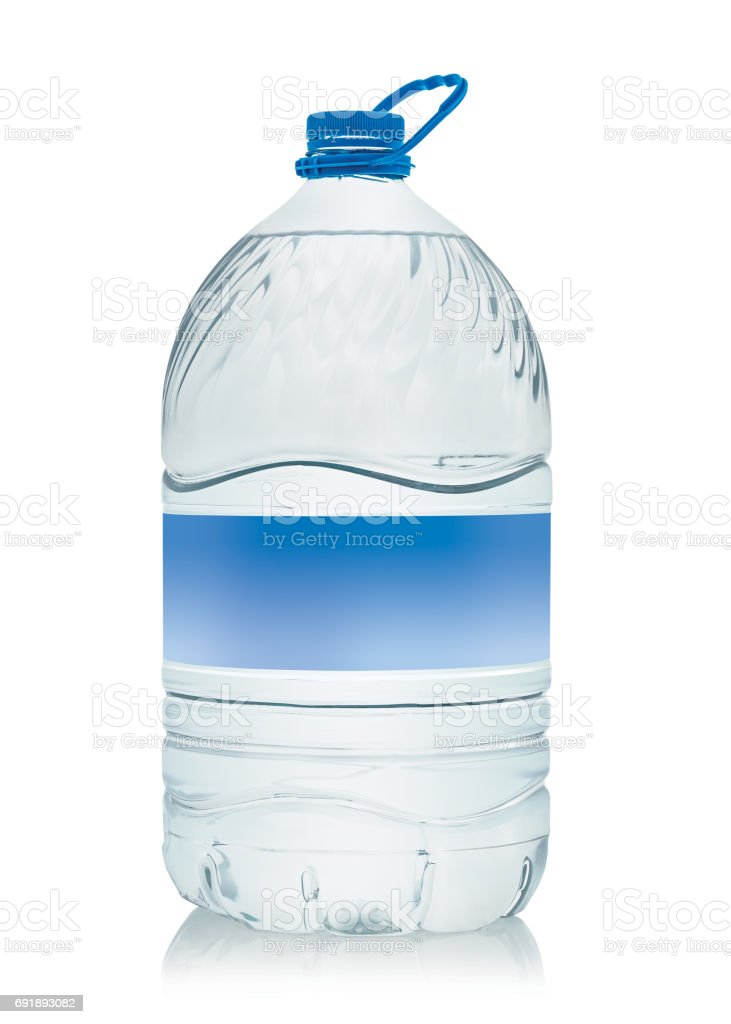 10 liter water bottle with empty label, clipping path stock photo