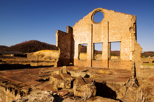 Ruins of a blast furnace at the Lithgow Blast Furnace Park, NSW, Australia.