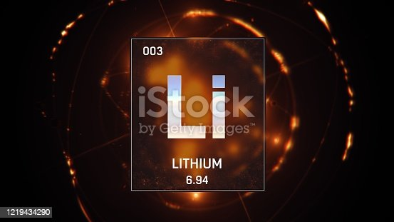 3D illustration of Lithium as Element 3 of the Periodic Table. Orange illuminated atom design background with orbiting electrons. Design shows name, atomic weight and element number