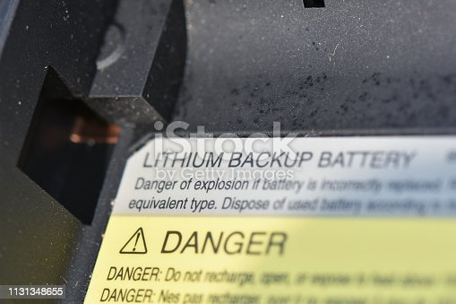 lithium battery on a laptop computer