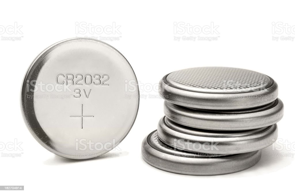 lithium button cell bildbanksfoto