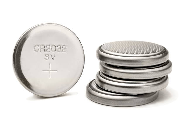 lithium button cell stock photo
