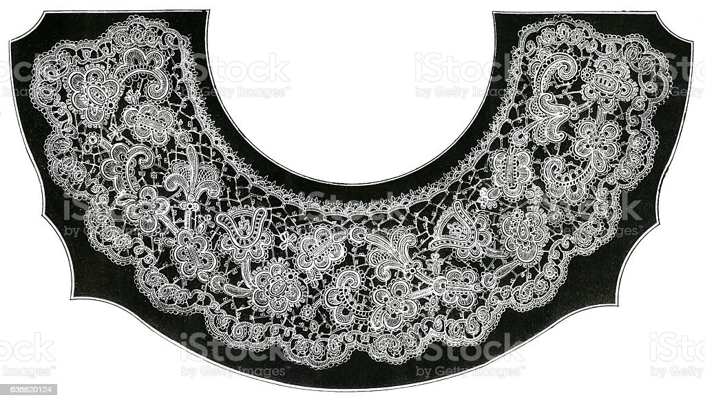 Lithograph Of Victorian Irish Crochet Collar Stock Photo More