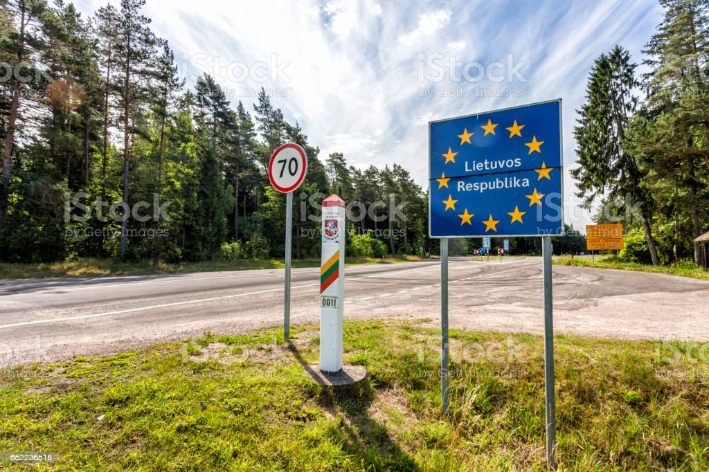Lithuania country border sign between Latvia and Lithuania stock photo