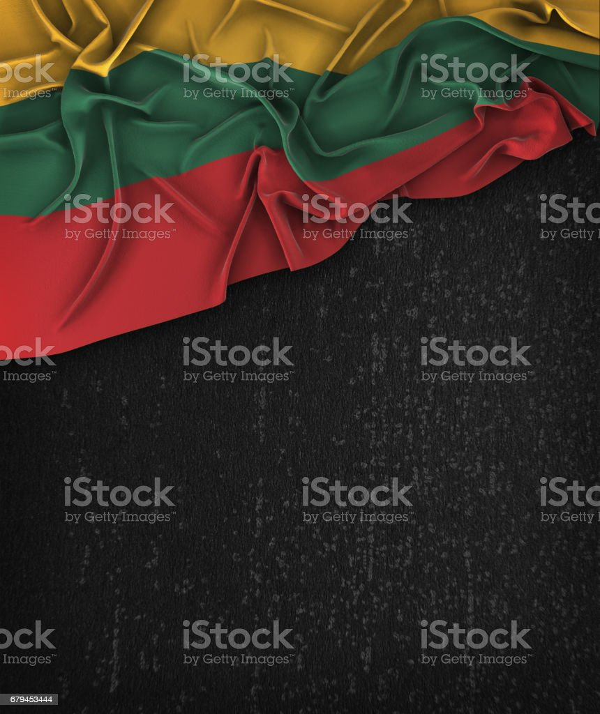 Lithuania Flag Vintage on a Grunge Black Chalkboard With Space For Text royalty-free stock photo