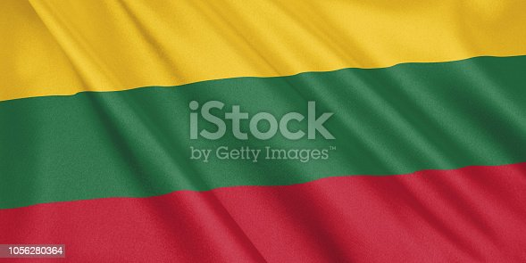 1056280906 istock photo Lithuania flag waving with the wind, wide format, 3D illustration. 3D rendering. 1056280364