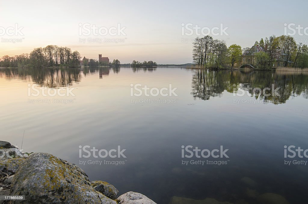 Lithuania. Galve Lake and Trakai Island Castle. stock photo