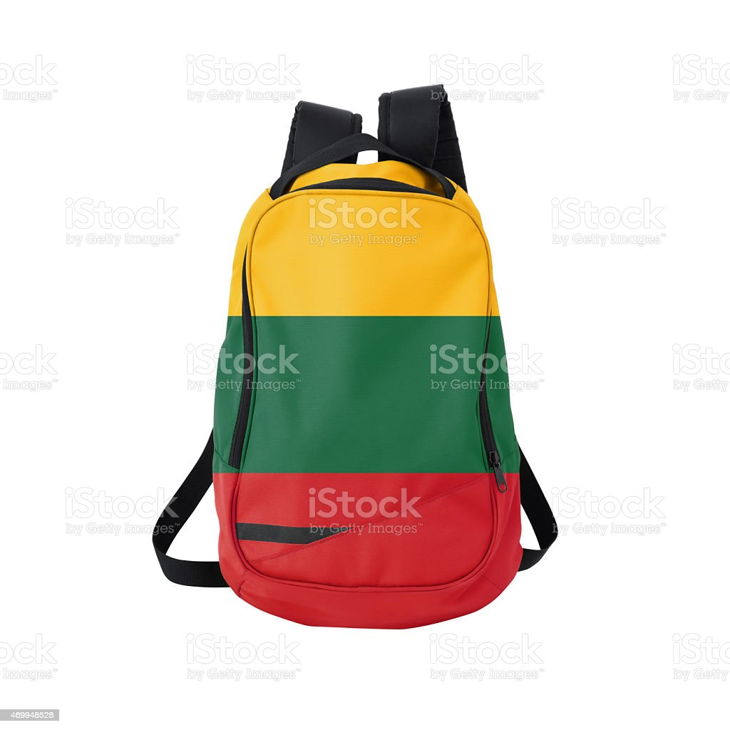 Lithuanian flag backpack isolated on white w/ path stock photo