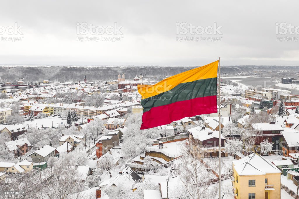 Lithuanian flag in the wind stock photo