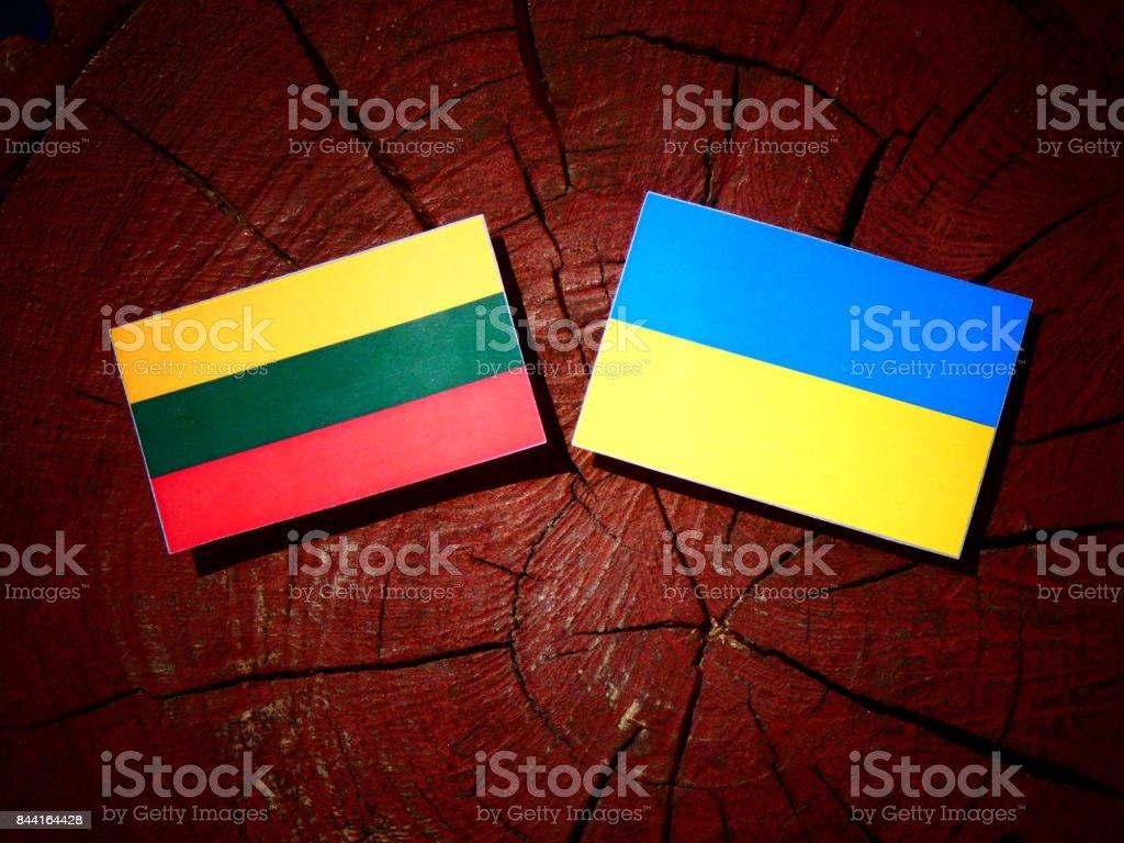 Lithuanian flag with Ukrainian flag on a tree stump isolated stock photo