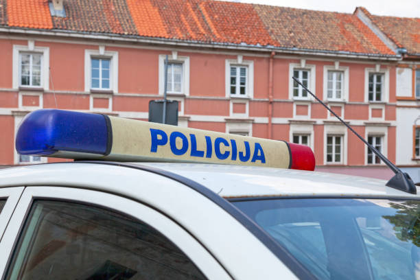 Lithuanian police car stock photo