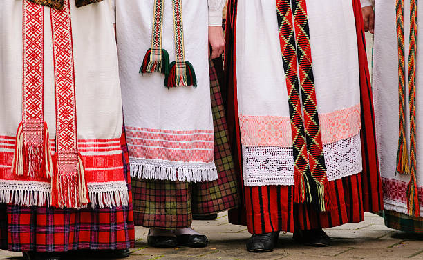 Lithuanian traditional dresses stock photo