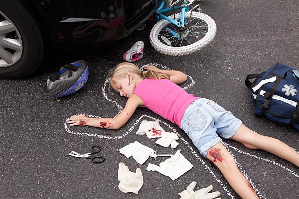 Garota Litle atingidas por car Series - foto de acervo