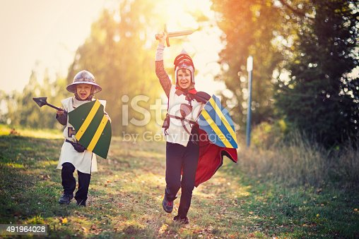 istock Litte knights charging 491964028
