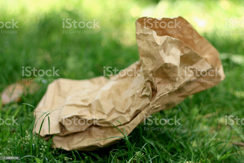 Litter - Brown Paper Bag royalty-free stock photo