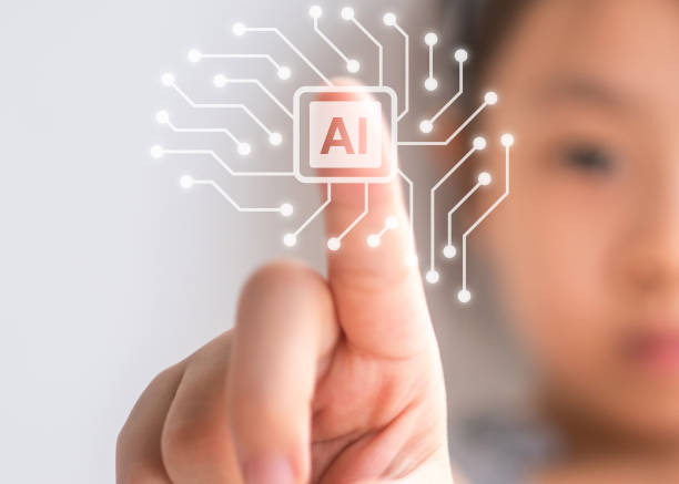 litter girl touching the future of artificial intelligence stock photo