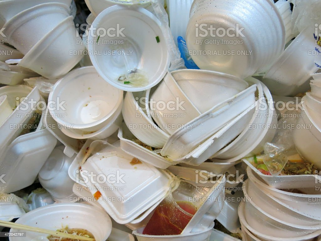 Litter of Foam food container stock photo