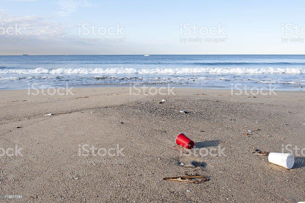 Littered Beach stock photo